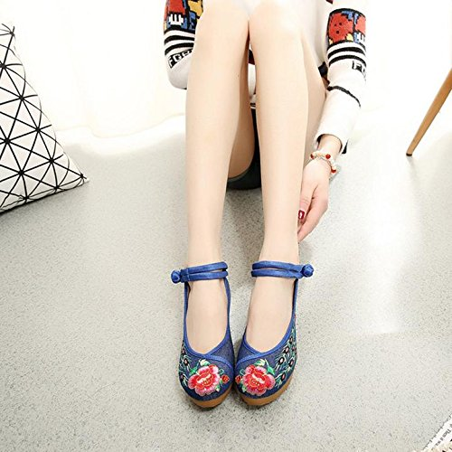 Hecater Womens Cinese Pavone Ricamato Scarpe Strappy Piattaforma Zeppa Per Il Vestito Cheongsam Blu