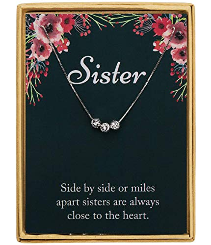 Monily 925 Sterling Silver Sister Birthday Gifts Necklace Three Small Beads Necklace Women Jewelry Friends Gift