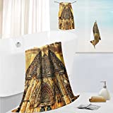 SCOCICI1588 toddler bath towel setChurch Catholic Gifts SunTower Medieval Architecture Prague Tapestry Wall Han Ultra Softness & Absorbency 13.8''x13.8''-11.8''x27.6''-27.6''x55.2''