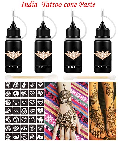 Indian Henna Tattoo Kit, Brown Henna Cones Paste, Henna Temporary Tattoo Ink/paste 2oz, Body Art Painting for Women ()