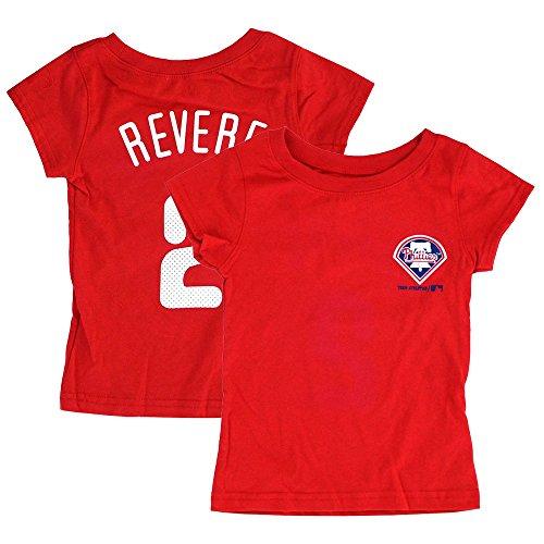 Phillies Mlb Player (Outerstuff Ben Revere MLB Philadelphia Phillies Player Jersey T-Shirt Toddler Girls (2T-4T))