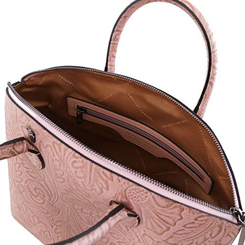 Tuscany Leather Gaia Borsa shopper in pelle stampa floreale - TL141670 (Grigio) Nude