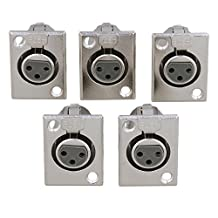 BQLZR 36 x 22mm Faceplate Silver XLR 3 Pin Panel Mount Female Chassis Socket Connector Nickel Housing Pack of 5