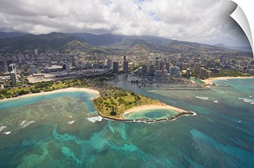 Ron Dahlquist Wall Peel Wall Art Print entitled Hawaii, Oahu, Honolulu, Aerial Of Magic Island, Ala Wai Yacht Basin - Shopping Ala Moana