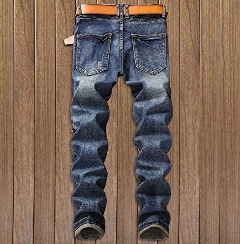 Vaqueros Midi Del Fit Dril Cómodo Rectos Sin Hombres Los Pretina Denim Jeans Regular Algodón Delgados 9 De Elásticos Battercake Pantalones zq4B5