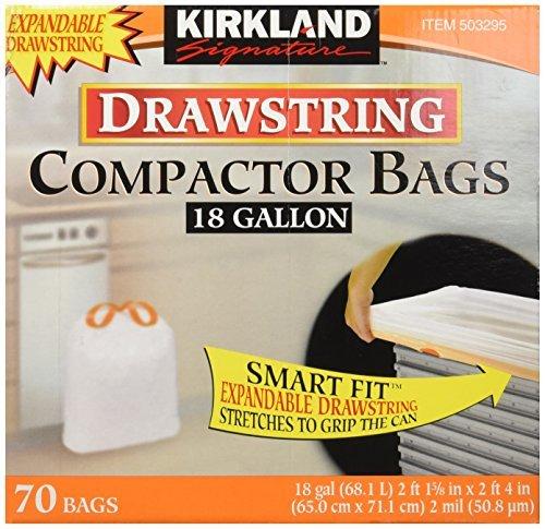 Kirkland Compactor Bags, 18 Gallon, Smart Fit Gripping Drawstring, 70 ct