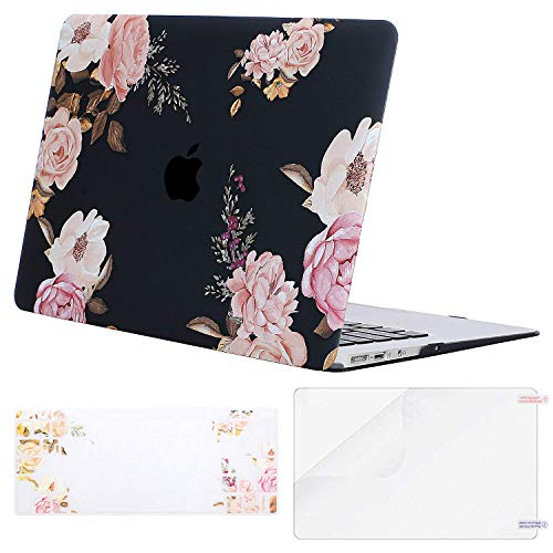 MOSISO Plastic Pattern Hard Shell Case & Keyboard Cover & Screen Protector Compatible with MacBook Air 11 inch (Models: A1370 & A1465), Peony on Transparent Black Base (Apple Macbook A1465)