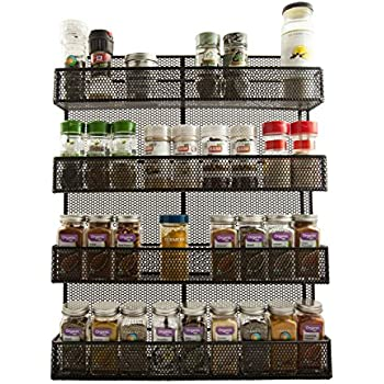 Amazon Com Yohino Wall Mounted Rustic 4 Tier Spice Rack