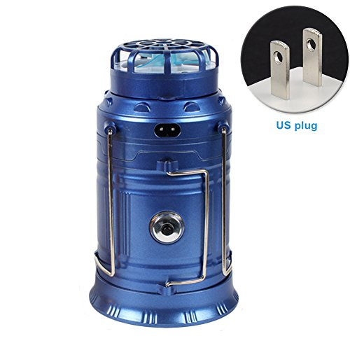osierr6 Solar Outdoor Collapsible Camping Lantern,Solar Rechargeable Fan Multi-function LED Camping Light,Stainless Steel Table Lamp Flashlight(US,blue) by osierr6