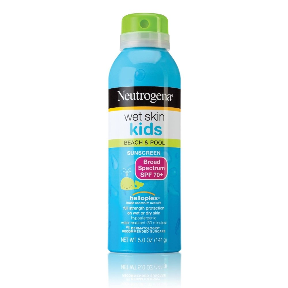 Neutrogena Wet Skin Kids Beach & Pool Sunscreen Spray SPF 70+ 5 oz (Pack of 4)