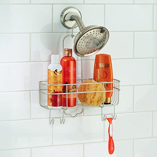 InterDesign Euro Shower Hanging Caddy Organizer with Swivel Hook and Storage Basket for Bathroom Shower – Matte Satin ()