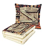 iPrint Quilt Dual-Use Pillow Rustic Natural Material Wooden Window of a Red Brick Country House Idyllic Pastoral Theme Multifunctional Air-Conditioning Quilt Light Brown