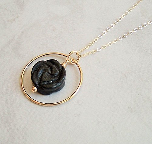 Carved Black Onyx Pendant (Black Carved Unpolished Onyx Framed Circle Pendant 20