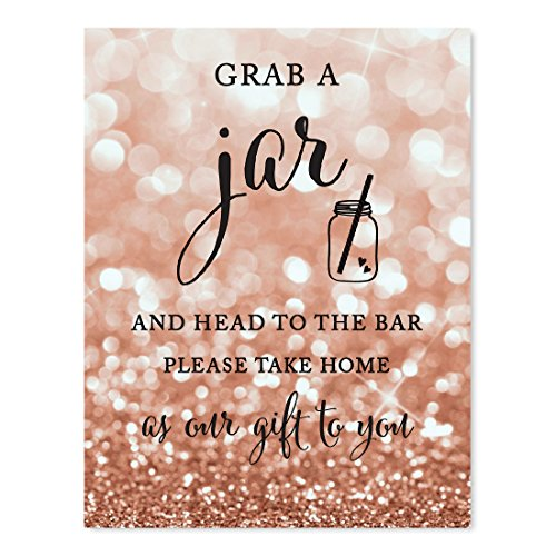 Andaz Press Wedding Party Signs, Glitzy Rose Gold Glitter, 8.5x11-inch, Grab Your Jar and Head to the Bar, Mason Jar Graphic, 1-Pack, Bokeh Colored Party Supplies