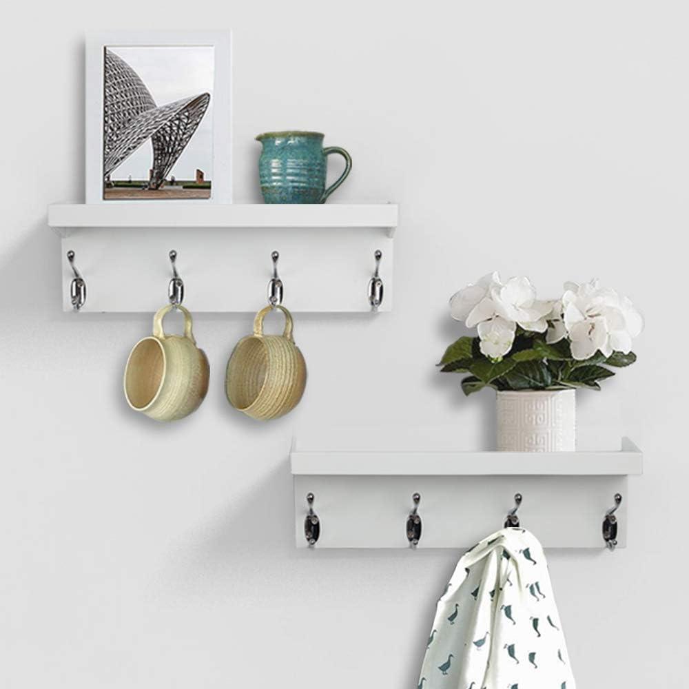 AHDECOR Wall Mounted Coat Rack Shelf, Floating Shelves with 4 Key Holder Hooks for Hallway Living Room Bedroom, Set of 2