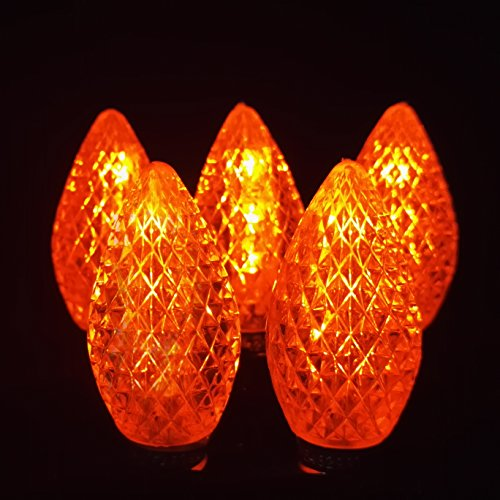 LED C7 Replacement Bulbs for Christmas - Tower Structure Strawberry Waterproof Outdoor Patio String Lights by Fantasy Holiday, Commercial Grade C7 LED Christmas Bulbs, E12/C7 Base, Orange 25 Pack