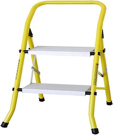 MMWYC Plataforma de Escalera de 2 peldaños, Taburete Plegable Ligero con Tapa de 330 Libras, Ahorro de Espacio con Bandeja, Amarillo y Blanco, 20.5 x 18.5 x 19 Pulgadas: Amazon.es: Hogar