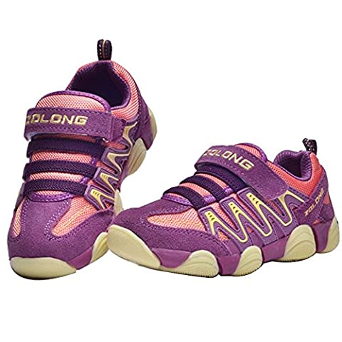 Unisex Childs Leather Casual Outdoor Breathable Running Shoes Velcro Sneakers for 6-16Years Boy's Girls Pink (Tennis Big Time Rush)