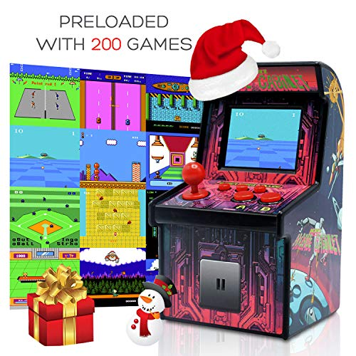 Funderdome Battery Powered Mini Arcade Game, Arcade Machine, Retro Tiny Video Game Arcade Cabinet, Portable Electronic Handheld Gaming Console for Kids with 200 Classic Video Games (Arcade Machine Mortal Kombat)