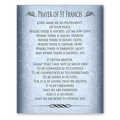 The Prayer of St Francis of Assisi Poetry Home Decor Housewarming Gift Blue 8x10 Print