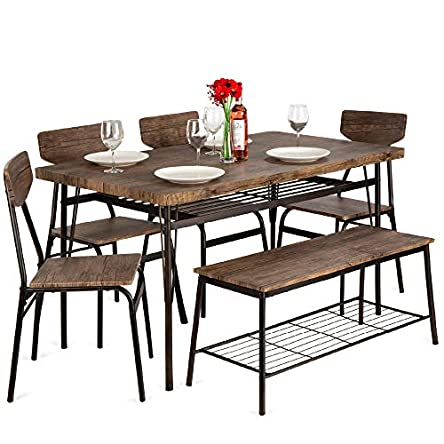 Best Choice Products 6-Piece 55in Wooden Modern Dining...