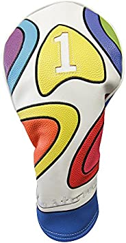 Majek Retro Golf Headcover Limited Edition Vintage Leather Style Psychedelic Colorful Groovy Custom Design 1 D