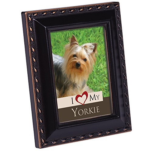 (Cottage Garden I Love My Yorkie Black Rope Trim Tiny Frame with Magnet and Easel)