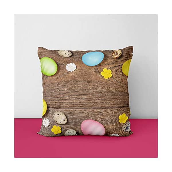 Easter Wood Multicolor Eggs Square Design Printed Cushion Cover