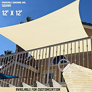 Sunshades Depot 12′ x 12′ Sun Shade Sail Square Permeable Canopy Tan Beige Custom Size Available Commercial Standard