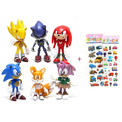 6 Pcs Sonic the Hedgehog Action Figures, Cake Toppers, 2.4