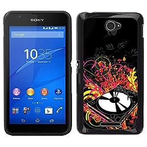LECELL--Funda protectora / Cubierta / Piel For Sony Xperia E4 -- Música Colores Vinilo Jugador --