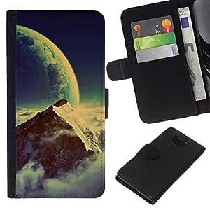 KLONGSHOP // Tirón de la caja Cartera de cuero con ranuras para tarjetas - Space Mountain - Samsung ALPHA G850 //