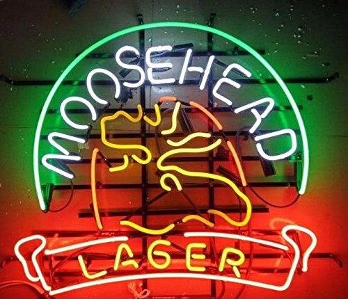 Mirsne 17'' by 14'' Moosehead Neon Signs, Glass Tube neon Open Sign, Custom Made neon Beer Sign, Unique neon Sign Art, Supplied for a Wide Range of Personal and Commercial uses.