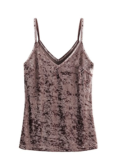 SheIn Women's Casual Basic Strappy Velvet V Neck Cami Tank Top Medium Grayish Purple