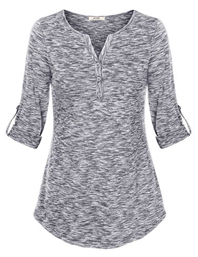 Ladies Henley Top (Vivilli Womens Henley Tops Long Sleeve, Womens Comfy V Neck Cuffed Sleeve Long Sleeve Tunic Shirt Loose Henley Tops Gray X-Large)