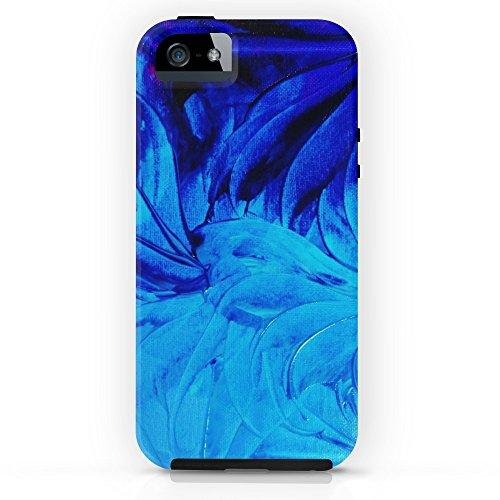 Society6 PETAL PINWHEELS - Deep Indigo Blue Royal Blue Turquoise Floral Pattern Swirls Ocean Water Flowers Tough Case iPhone - Petals Swirl