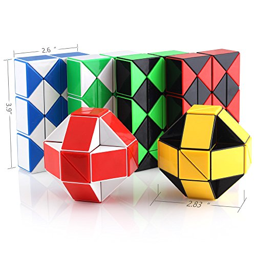 Speed Cube Snake Ruler Twisty Fidget Cube Puzzle Pack Stickerless Magic Snake Game Toys Collection Brain Teaser for Kids (24 Parts 6PCS) by Ganowo (Image #1)