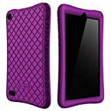 Bear Motion Silicone Case for Fire 7 2017 - Anti Slip Shockproof Light Weight Kids Friendly Protective Case for Amazon Kindle Fire 7 2017 (Purple)