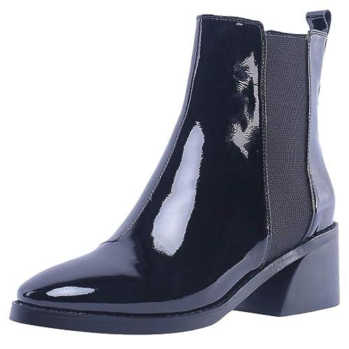 AicciAizzi Mujer Clasico Tacon Ancho Botines Sin Cordones Fiesta Vestido Escuela Oficina Botines Zapatos Black Size