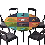 "Round Premium Table Cloth All Jazz Equipment Flat Funky Music Symbols Everyday Use 47.5""-50"" Round (Elastic Edge)"