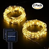 Solar String Lights, Miatec 100 LEDs Starry String Lights, Copper Wire solar Lights Ambiance Lighting for Outdoor, Gardens, Homes, Dancing, Christmas Party Updated Version, 2 pack