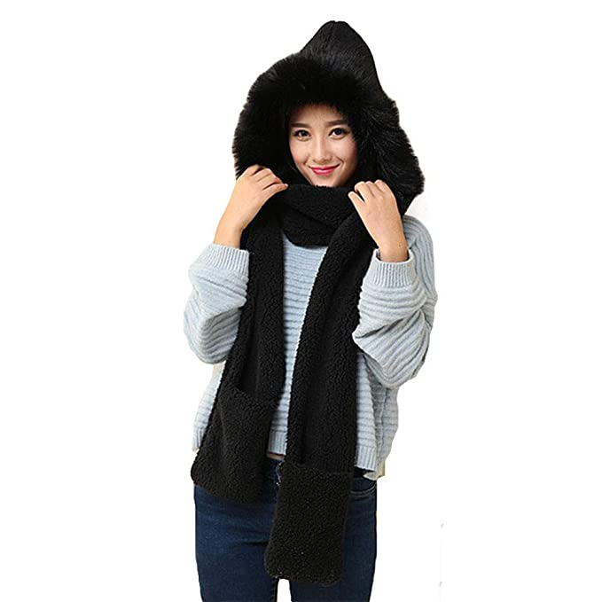 cad7ffac982 Women Solid Faux Fur Winter Warm Hats Gloves Scarf 3 in 1 Set with Pocket  (Black) at Amazon Women s Clothing store