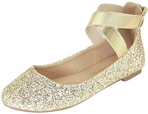 Ballerina Flat - ShoBeautiful Women's Classic Ballerina Flats with Elastic Crossing Ankle Straps Ballet Flat Yoga Flat Shoes Slip On Loafers Gold 8