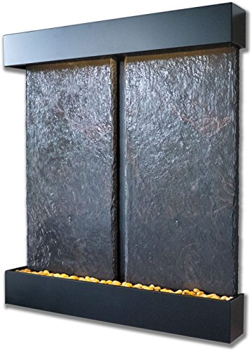 Nojoqui Falls Lightweight Double Panel Wall Fountain (Black Powder Coat) by Bluworld Fountains