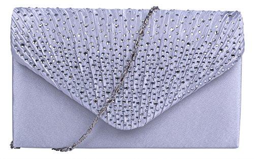 HONEYJOY Women Evening Bag Envelope Evening Satin Diamante Handbag Wedding Party Bridal Clutch Purse (One (Satin Girls Handbag)