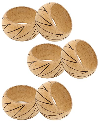 SKAVIJ Napkin Rings Set of 6 Brown for Wedding Banquet Table Dinner Decor Favor Natuaral Wood by SKAVIJ (Image #3)