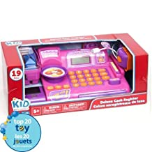 Pretend Play Shopping Bundle Includes Supermarket Deluxe Cash Register with Sounds and Up to 120 -Piece Food Play Set Kid -Pink