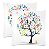 InterestPrint 2 Pack Art Tree with Math Symbol Pillow Case Cover 18x18 Twin Sides, Colorful Math Note Tree Zippered Throw Cushion Pillowcase Protector Set Decorative for Couch Bed