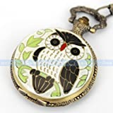 Steampunk Owl White Cover Bronze Pocket Watch Arabic Numerals Easy Read Unisex