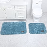 Dada HotOne Microfiber Bathroom Rug Non-Slip Rubber Absorbent Shower Mats Decorative Bath Carpet Shaggy Floor Mat(Blue 2pc/2size 35.8x23.8,24.2x19.7)